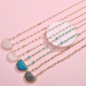 Wholesale Joolim Jewelry Pink White Blue Gray Natural Stone Pendant Necklace Bead Chain Necklace