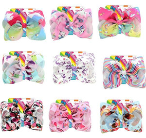 "Drop shipping 8 Inch""jojo Girls Siwa Unicorn Collection Coral Colorful Hairpin Large Hair Bows Hair Accessories For Girls 8pcs"