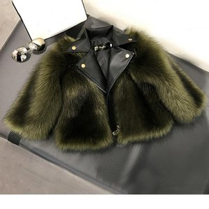 Wholesale Girl fur Coat Jacket Imitation fox Artificial Fur Grass High Quality Plush leather Fake pieces Winter Kids baby girlClothes