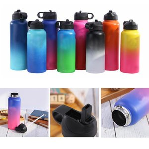 Wholesale Gradient Stainless Steel Sport water bottle oz oz oz Vacuum Insulated Bottle color large capacity portable travel mugs with straw lid