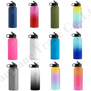 Wholesale 32oz oz Hydro Vacuum Insulated Flask Gradient Color Stainless Steel Water Bottles Wide Mouth Vacuum Sport Outdor Hydration GearA110602