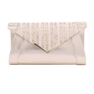 Solid Leather Shiny Clutch Bag Sequin Decoration Wedding Bride Pouch Rectangle Purse Formal Business Shoulder Bags Designer