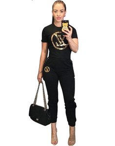Wholesale 2019 Summer Women Two pieces Set Tracksuits Color Sequins Letter Applique O neck T shirt Short Sleeve Tops Long Pants Casual Sports suit