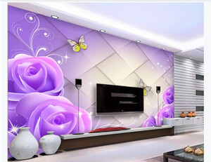 Wholesale 3D customized large photo mural wallpaper Crystal purple rose light elegant diamond soft bag fashion D TV sofa background mural wall