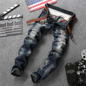 Wholesale Punk Style Fake Zipper Cotton Jean Men s Pants Vintage Hole Cool Trousers Guys Spring Europe America Style Ripped Jeans Men