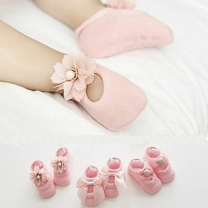 Wholesale Baby Lace Floor Sock Summer Korean Thin Cotton Hollow Boat Socks Infant Child Baby Flower Bow Double Lace Non slip Socks
