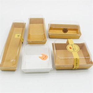 Wholesale 50Sets Cookie White Cardboard Gift Box DIY Candy Bread Plastic PVC Packing Boxes Cupcake Kraft Paper With Transparent Cover