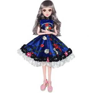 Wholesale 60cm Movable Joints White Skin Bjd Dolls Princess Dress Girl Toys D Eyes Clothes Shoes Accessories BJD Doll Toy for Girls Y191207