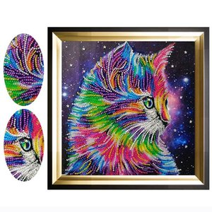 Wholesale D Special Diamond Painting Colorful Cat Animal Diamond Embroidery Cartoon Picture Cross Stitch Picture x30cm