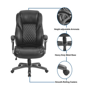 WACO Ergonomic Office Chair, High Back Breathable PU Leather Adjustable, Executive Boss Home Computer Working Chair 250lbs Black