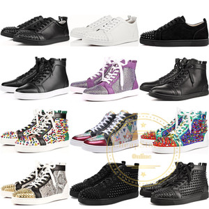 Wholesale 2019 New Luxury Designer Red Bottom Shoes For Mens Women High Top Sequined Glitter Fashion Sneakers Party Flats Casual Shoes