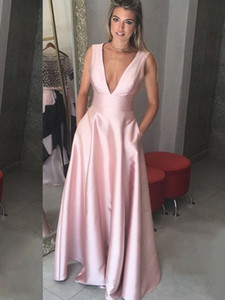 Elegant Evening Dress Long Satin Dresses Simple Design V Neck Long Formal Dress Evening Gown Party Open Back on Sale