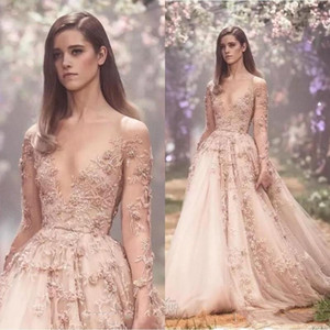 Wholesale Blush D Floral Long Sleeves Prom Dresses Paolo Sebastian Lace Applique Princess Puffy Skirt Country Garden Evening Gowns BA8183