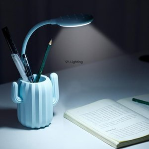 Wholesale Multiuse LED Cactus Desk Lamp USB Charging Touch Switch Table Light Eye care table lamp with Pen Storage Holder