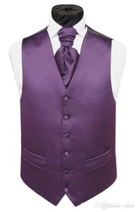 Wholesale Handsome Purple Satin Wedding Vests Custom Made Groom Vest Slim Fit Mens Suit Vest Waistcoat Dress With Two Pockets Only Vest
