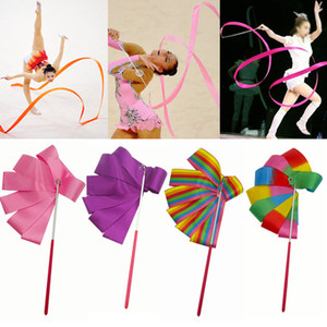 Wholesale 4M Colorful Gym Ribbons Dance Ribbon Rhythmic Art Gymnastic Ballet Streamer Twirling Rod Stick For Gym Training Professional Meters