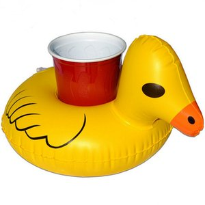 Wholesale Inflatable Cup Holder Inflatable Coasters Duck Cups Holders Floating Bar Coaster Small Yellow Ducks Cute Popular