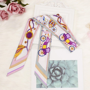 Wholesale Fashion New Korean Style ladies scarf for women printing magic silk scarf tied bag handle small ribbon scarf headscarf