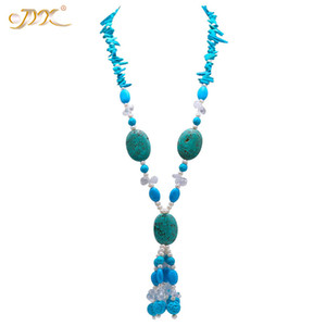 Wholesale JYX Elegant Long Turquoise Necklace mm Irregular Turquoise Long Necklace Gemstone quot Jewelry with pearls crystal