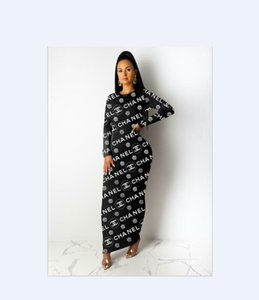 Wholesale dress Ms Europe and America Full body letter printing dress Leisure Wild long sleeved dress Slim fit Long skirt new style Cross border suppl