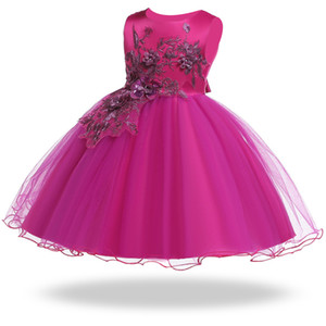 ingrosso abiti da ricamo per anni-2019 Toddler Girls Summer Dress Ricamo Princess Dress Costume Abiti per bambini Per ragazze Vestidos Party Wedding Year