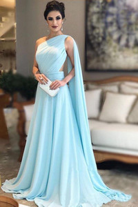 Setwell One Shoulder A-line Evening Dress Sexy Backless Pleated Floor Length Chiffon Formal Party Gown With Cape on Sale