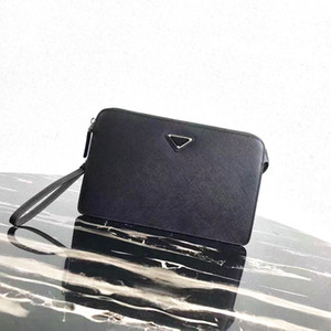 Classic hot men's zipper handbag Italian designer designer men's clutch bag Fashion business trend style Front triangle decoration