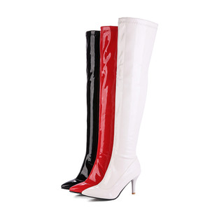 Wholesale New Winter Glossy Black Red Women Thigh High Boots Sexy Lady Dance Pole Shoes High Heel Plus Big Size