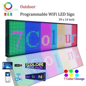 "WiFi LED Sign, P13 SMD 7 Color Scrolling Led Signs 39""x14"" High Brightness Outdoor LED Advertising Display Board"