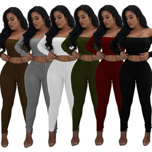 Wholesale women designer sportswear long sleeve off shoulder sweat shirt pants tracksuit hoodie legging piece set bodycon outfits hot klw0089