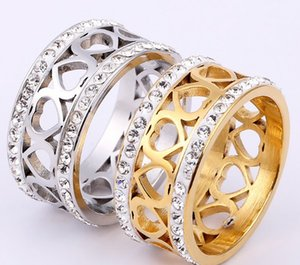 Wholesale Heart diamond American rings Hot New Princess Cut Square Single CZ Diamond layout Wedding Band Ring fashion Jewelry