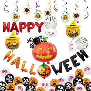 inflables de halloween al por mayor-Halloween Pumpkin Ghost Balloons Sets Decoraciones de Halloween Spider Foil Balloons Juguetes inflables Bat Halloween Party Supplies VT0547
