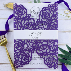 Luxury Purple Laser Cut Wedding Invites With Personalized Insert And Belly Band, Provide Free Printing, Free shipping