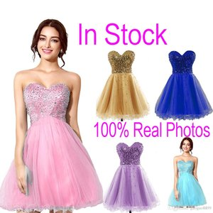 Wholesale 2019 In Stock Tulle Mini Crystal Homecoming Dresses Beads Lilac Sky Royal Blue Mint Short Prom Party Gowns Cheap sale Real Image $20