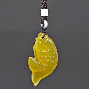 Wholesale Drop Shipping Natural Yellow Chalcedony Fish Jade Pendant Necklace Hand Carved Lucky Blessing Lady Necklace Pendant Jewelry Gift