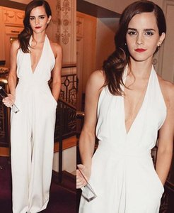Wholesale 2019 Modest EmmaWatson Jumpsuits Prom Dresses Halter v neck Party Wear Evening Gowns Rompers Pantsuit Celebrity Gowns Custom Made for summer