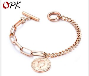 Wholesale Fashion Rose Gold Jewelry Retro Ancient Figure Round Titanium Steel Bracelet OT Button Hand Jewelry