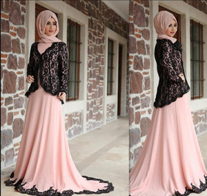 Wholesale light Pink Saudi Arabic mother of the bride dresses with jacket black lace Sweep Train high collar Long Sleeves Prom Dresses Party Gowns