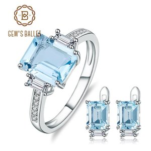 GEM'S BALLET Rectangle Natural Sky Blue Topaz Rings Clip Earrings Gemstone 925 Sterling Silver Fine Jewelry Set For Women Gift on Sale