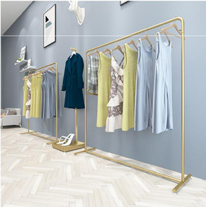Wholesale store cloth for sale - Group buy Nordic Light luxury iron art clothes rack clothing store floor type display clothes rack men s and women s cloth store hanging clothing rac