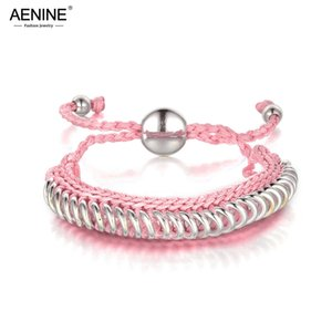 Wholesale AENINE Trendy Hand knitted Circle Charm Bracelet Jewelry Diy Rope Woven Chain Link Adjustable Bracelets For Women Girls LI