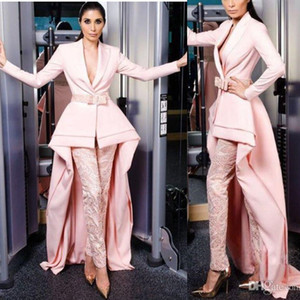 Wholesale Elegant High Low Jumpsuits Evening Formal Gowns V Neck Pink Lace Pants Prom Party Wear With Long Sleeves Satin Sash Celebrity Dresses