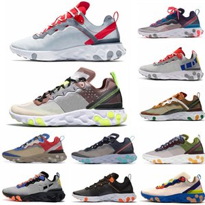 Wholesale 2020 New React Element Mens Women Running Shoes Metallic Gold Taped Seams Red Desert Sand Royal Tint Sports Outdoor Sneakers Shoe