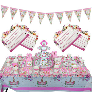 Wholesale Birthday Party Decoration Girls Invitation Card Banner Disposable Tableware Kit Pink Unicorn Theme Party Supplies