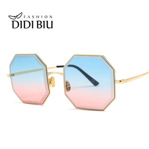 Wholesale Trend Octagon Sunglasses Women Polygon Blue Pink Cutting Geometric Thin Sun Glasses Female Gradient Ocean Shades Lunette WN1064