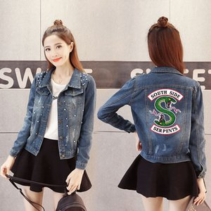 Wholesale Riverdale high quality women s scrub denim jacket jacket punk denim button women s hip hop streetwear multicolor