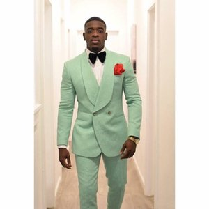 Wholesale Mint Green Men Groom Tuxedos for Wedding Suits Shawl Lapel Double Breasted Two Pieces Jacket Pants Formal Man Blazer Latest Style