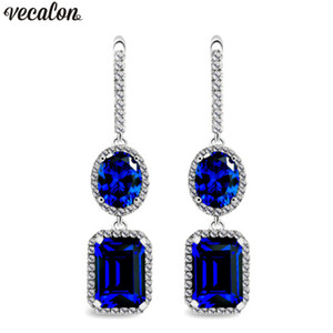Wholesale Vecalon Royal lady Dangle earring Blue A Zircon Cz White Gold Filled Anniversary wedding Drop Earrings for women Gift