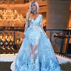 Sexy Long Sleeve Appliqued Mermaid Prom Dresses Detachable Train Deep V Neck Lace Tulle Over Skirt Illusion Formal Evening Dress