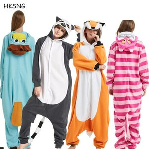 Wholesale HKSNG Animal Adult Stitch Cat Fox Kigurumi Pajamas Onesie Fleece Halloween Family Party Halloween Bear Shark Costume JumpsuitMX190921